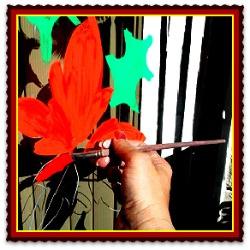 holiday window painter poinsettia image
