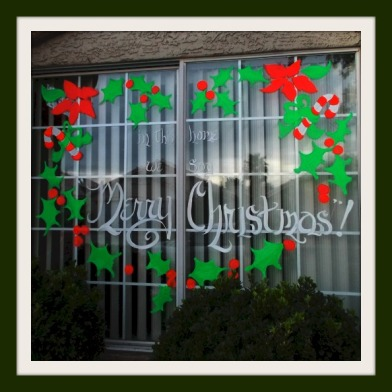 window painting heart shaped wreath